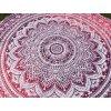Mandala - jóga podložka kulatá, růžová ombré, přehoz na postel  Mahari, deka na pláž kulatá, pikniková podložka, bavlna, doprava zdarma