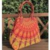 Textilní taška s mandalou  Mahari - velká kabelka, plážová taška, indická kabelka, oranžová, DOPRAVA ZDARMA
