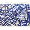 Bavlněná indická mandala, dekorace na zeď - indický XL přehoz na postel, jóga podložka, modro-zlatá, tapisérie, doprava zdarma