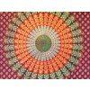 Mandala textilní dekorace na zeď - indický přehoz přes postel, jóga podložka, tapisérie, oranožovo-vínová, bavlna, doprava zdarma