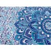 Mandala textilní dekorace na zeď - přehoz přes postel, modrobílý lotosový květ, jóga podložka, tapisérie, bavlna, doprava zdarma
