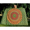 Mandala Mahari textilní dekorace na zeď - přehoz na přes postel, jóga podložka, tapisérie zelená, bavlna, doprava zdarma