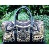 Mahari textilní mandala taška - indická cestovní kabela na jógu, černo-zlatá, DOPRAVA ZDARMA