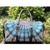 Mahari textilní mandala taška - indická cestovní kabela na jógu, modrá, DOPRAVA ZDARMA