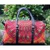 Mahari textilní mandala taška - indická cestovní kabela na jógu, červená, DOPRAVA ZDARMA