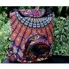 Textilní batoh Mahari s mandalou - indický baťůžek, oranžová paví péra, DOPRAVA ZDARMA