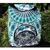 Textilní batoh Mahari s mandalou - indický baťůžek, bílo modrá paví péra, DOPRAVA ZDARMA