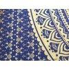 Bavlněná indická mandala, dekorace na zeď - indický XL přehoz na postel, jóga podložka, modro-zlatá, tapisérie, doprava zdarma, II. jakost