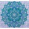 Mandala Mahari textilní dekorace na zeď - indický přehoz přes postel, jóga podložka, tapisérie, bavlna, zeleno modrý lotosový květ, doprava zdarma
