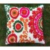 Mahari - Dekorační povlak na polštář - tradiční indická výšivka, indický meditační polštář, oranžovo červený, doprava zdarma