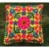 Dekorační povlak na polštář - tradiční indická výšivka, indický meditační polštář, žluto-růžový, doprava zdarma