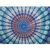 Mahari - Mandala textilní dekorace na zeď - velký indický přehoz na postel, jóga podložka, tapisérie, bavlna, modro zelený peackock, doprava zdarma