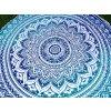 Mandala - Mahari podložka, přehoz, deka na pláž, pikniková podložka, bavlna, modrá ombré, doprava zdarma