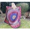Mandala - jóga podložka kulatá, fialovo modrá, indický přehoz na postel, deka na pláž kulatá, pikniková podložka, bavlna, doprava zdarma