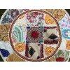 Indický patchwork puf taburet - ruční práce, podsedák, sedací pytel, taburet z Indie, bílý, DOPRAVA ZDARMA