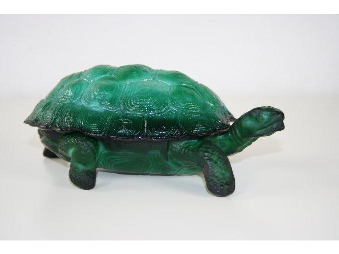 Dóza, šperkovnice malachitové sklo (JADE) - želva