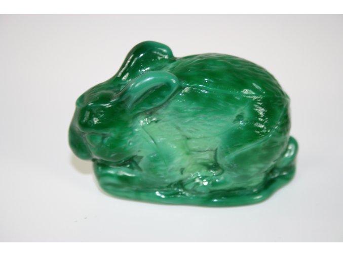 Těžítko malachitové sklo (JADE) - králík