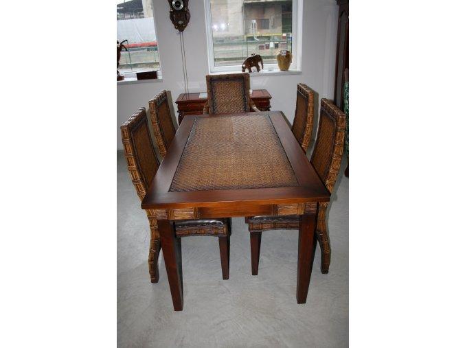 Jídelní set - jídelní stůl + 6 židlí - ratan, mahagon