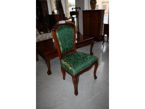 Židle vyřezávaná, polstrovaná - zelená