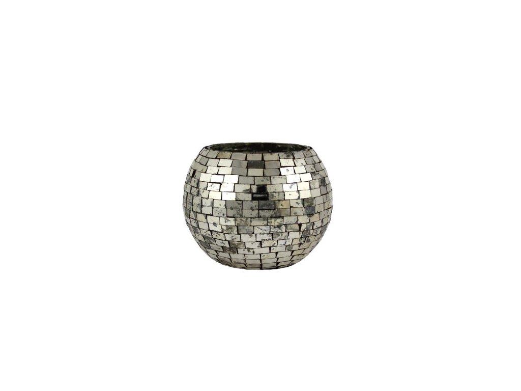 svícen mozaika stříbrný kulatý