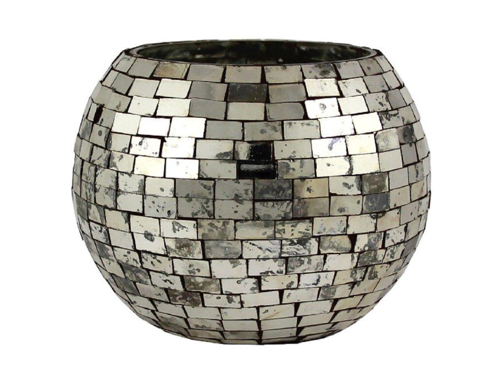 svícen mozaika stříbrný