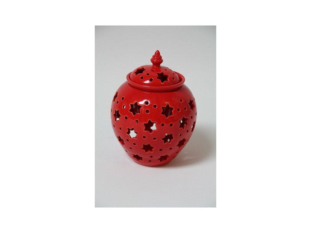 Aromalampa koule červená hvězdičky