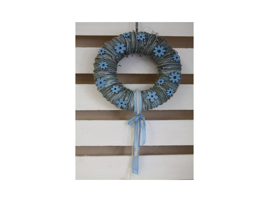 věneček modrý ovázaný s kytičkama
