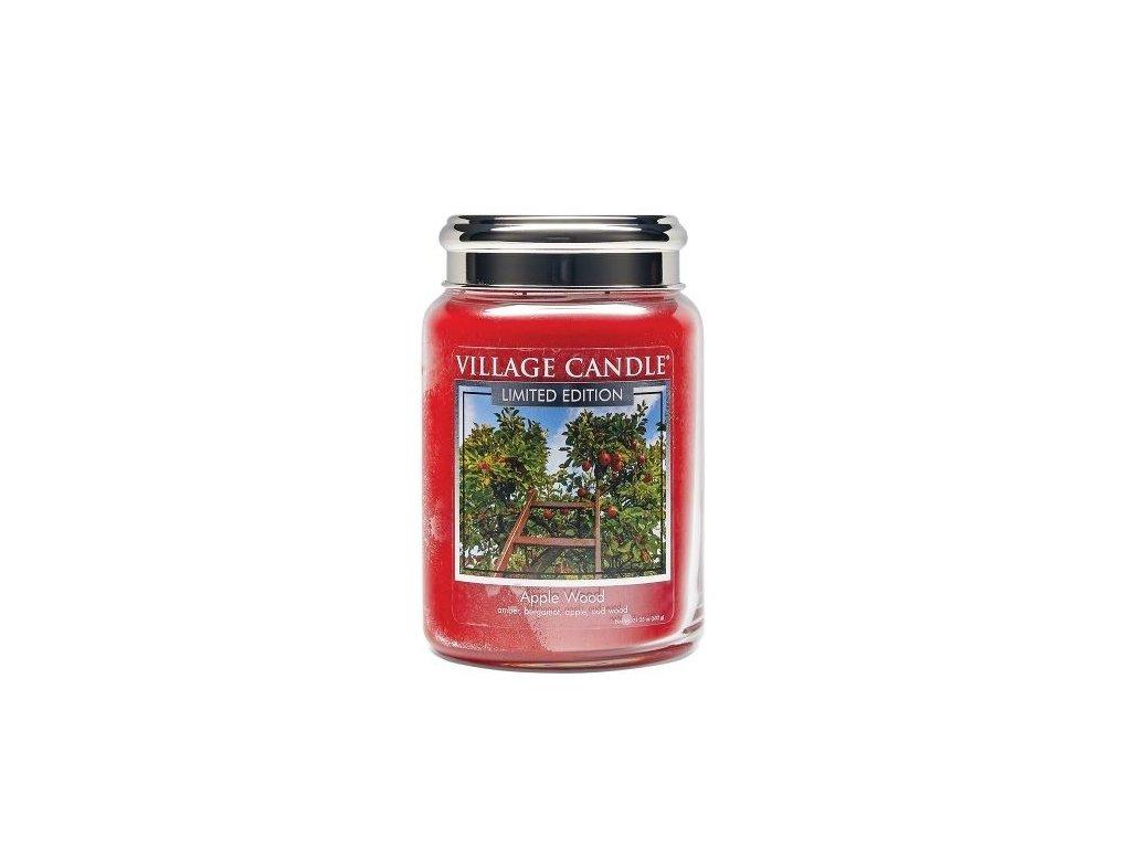 village candle vonna svicka ve skle jablonove drevo apple wood 26oz