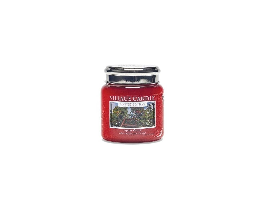 village candle vonna svicka ve skle jablonove drevo apple wood 16oz