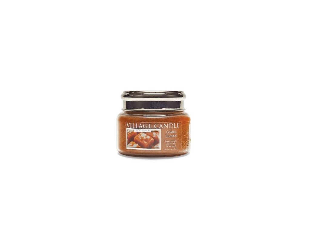 village candle vonna svicka ve skle zlaty karamel golden caramel 11oz
