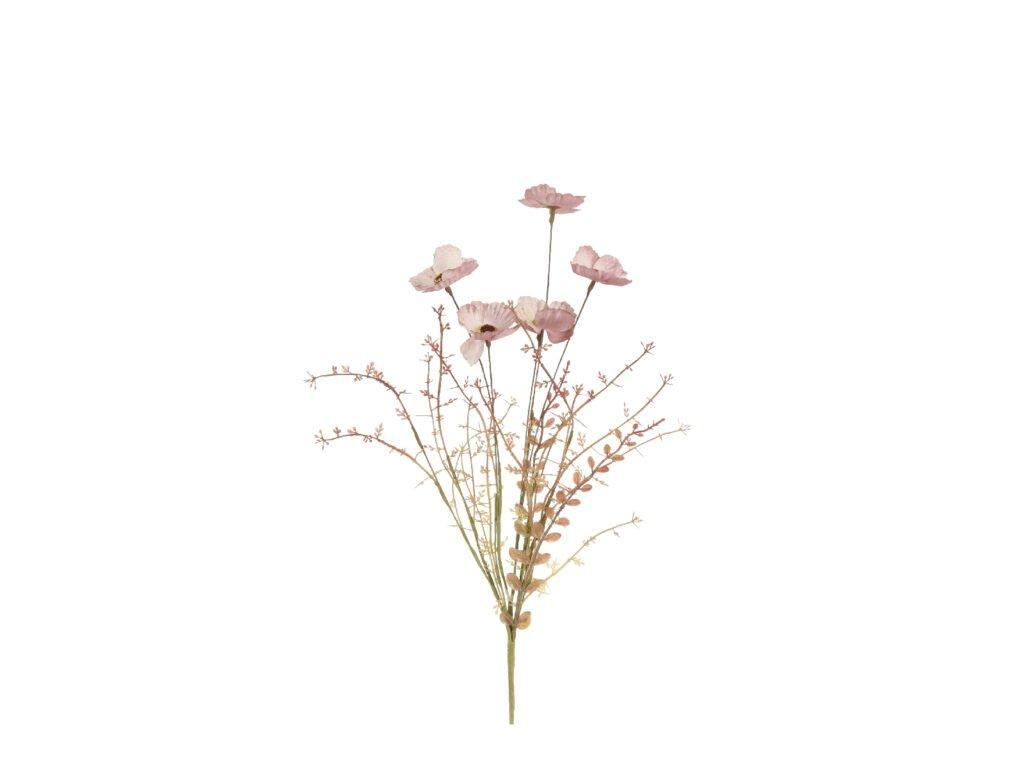 květina umělá růžová, sušený vzhled
