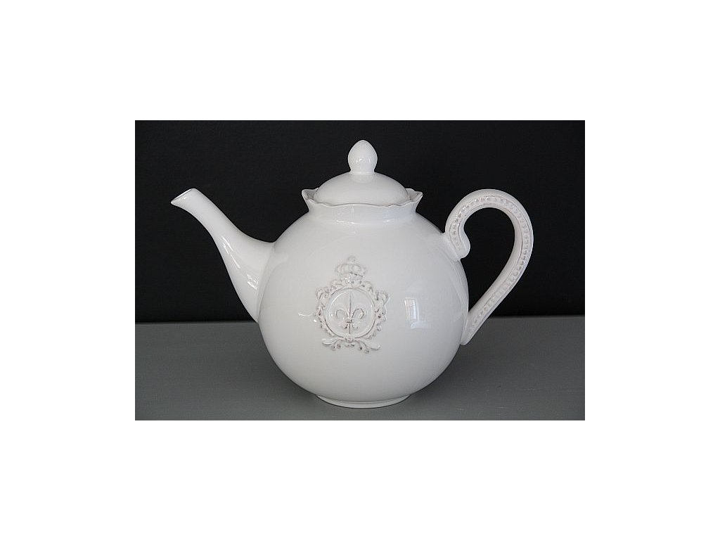 Konvice čajová zdobná bílá