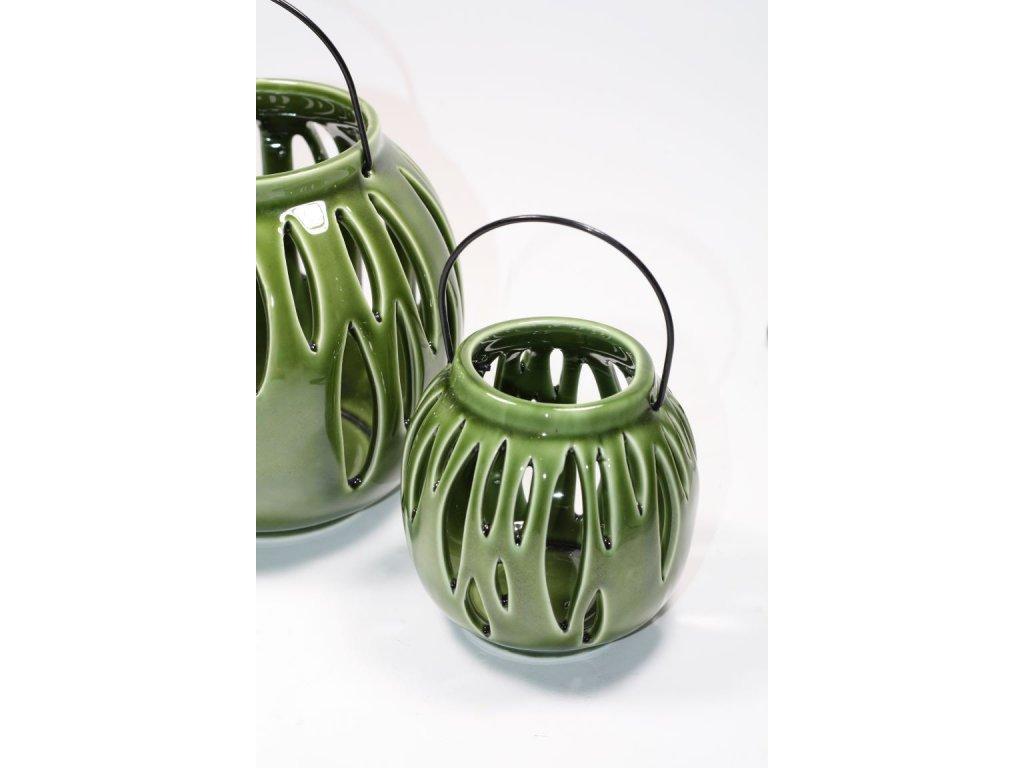 svícen keramický zelený