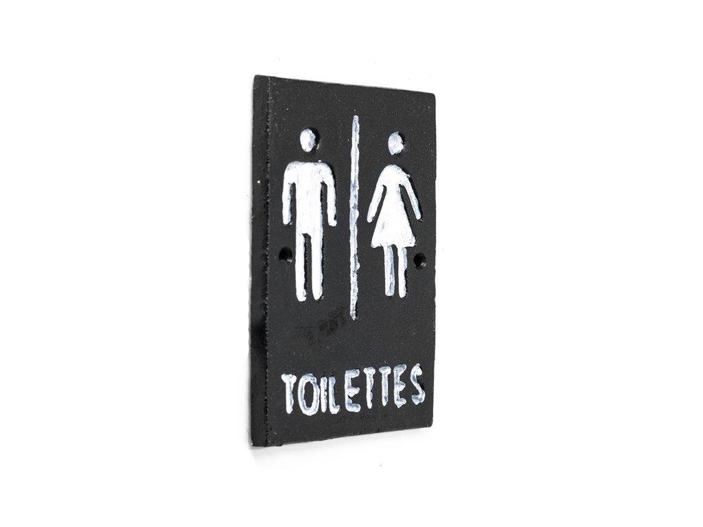 litinová cedulka toilettes