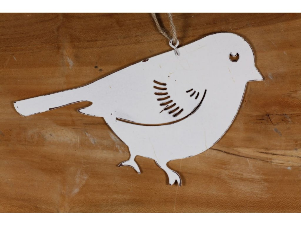 plechový ptáček s patinou