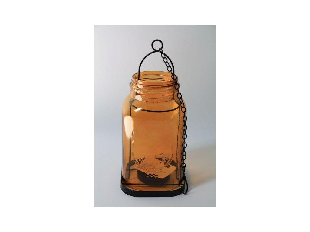 Lucerna černý kov + oranžové sklo