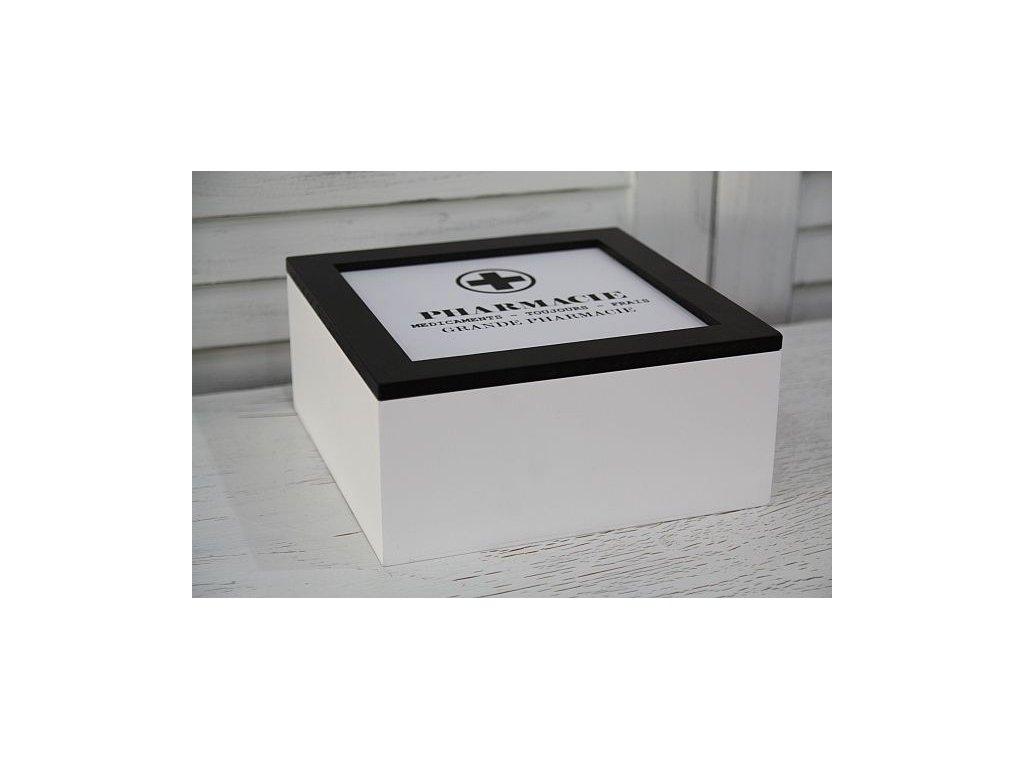 Lékárnička dřevěná černo-bílá