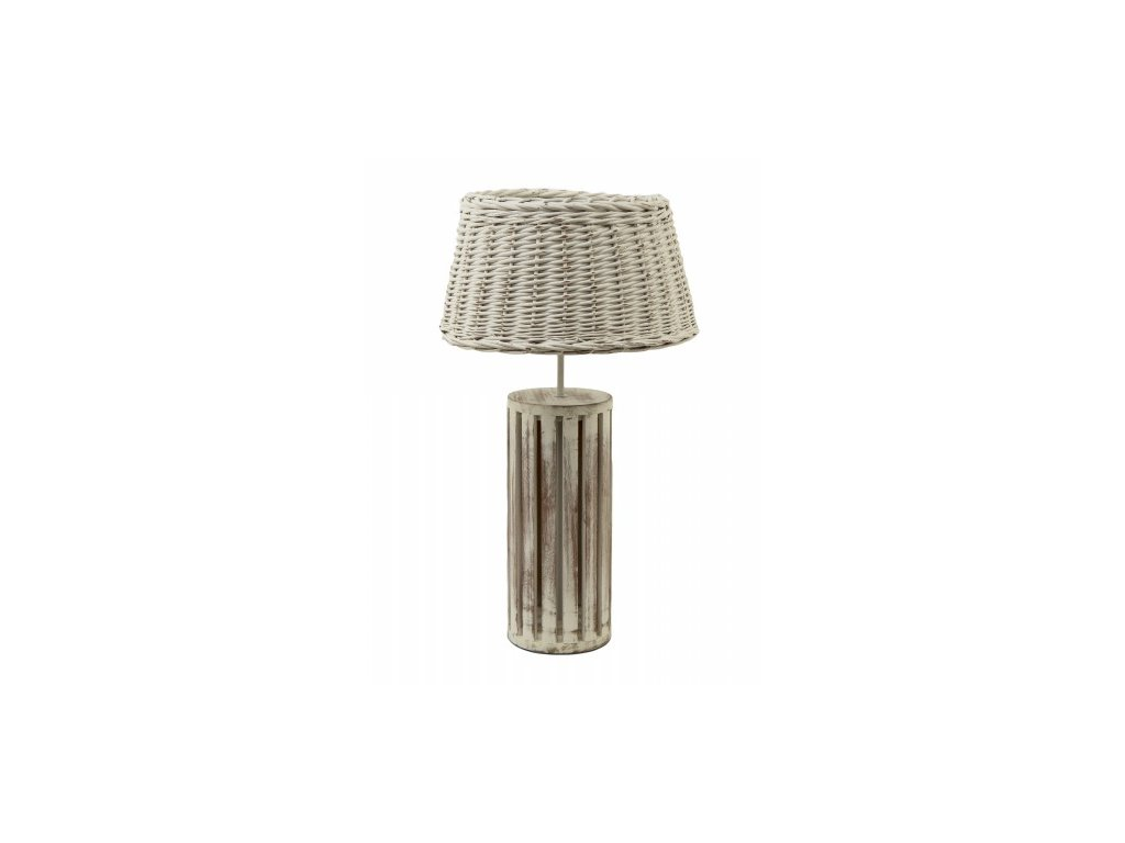 Lampa dřevo + proutí- patina velká
