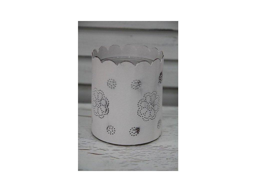 Lucernička plechová bílá s kytičkou
