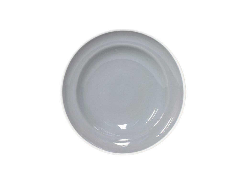 Talíř na těstoviny, šedý keram. O 23 cm