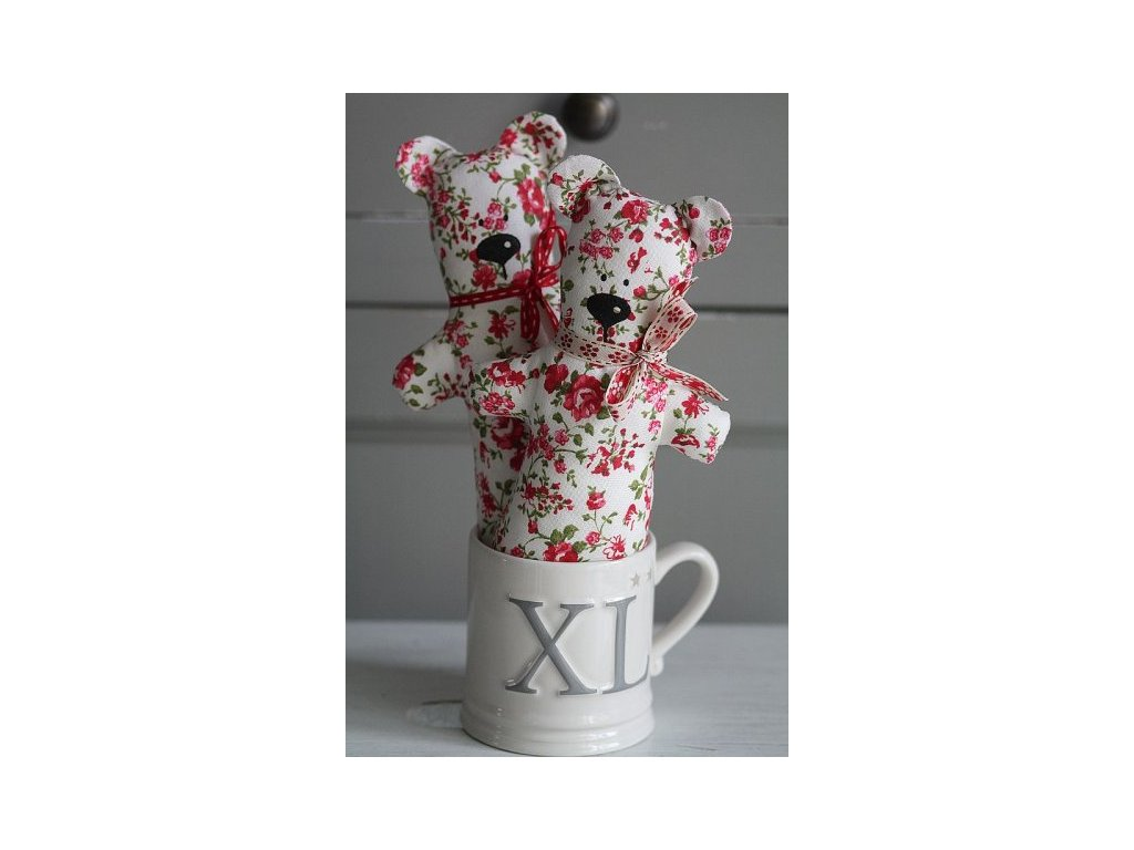 Medvěd ručně šitý červená kytička