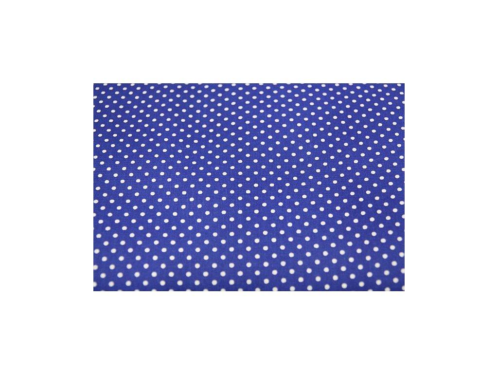Metráž tmavě modrý puntík 3mm