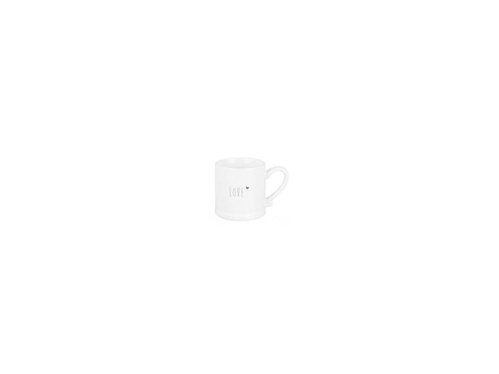 Hrnek na espresso, bílý, keramika, s černým nápisem Love