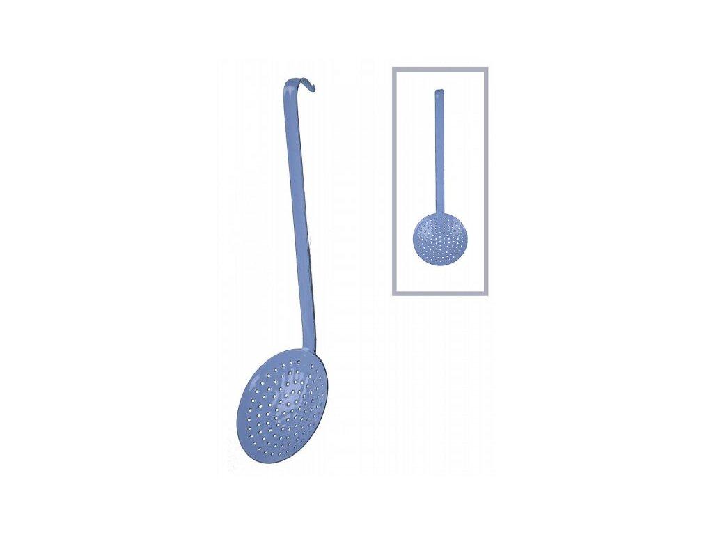 Naběračka smaltová modrá děrovaná