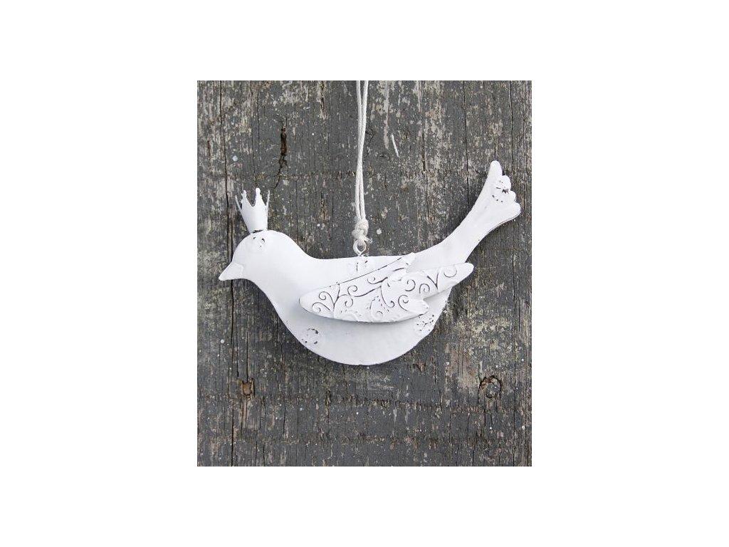 Ptáček bílý plechový