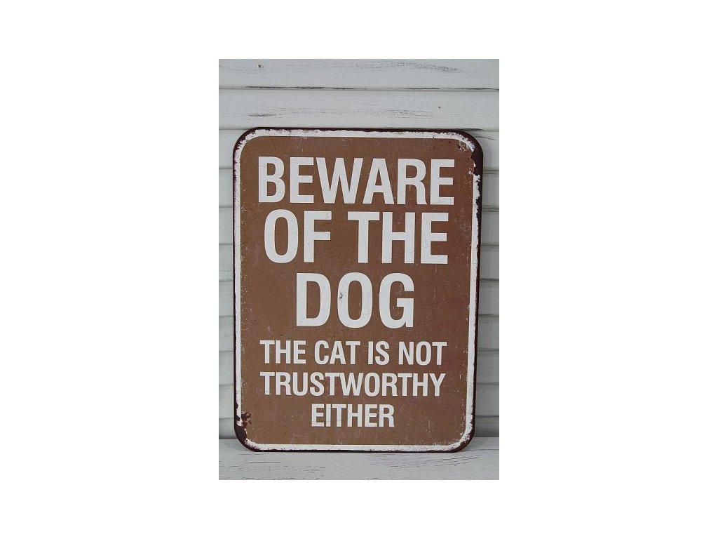 Plechová cedule Beware of the dog