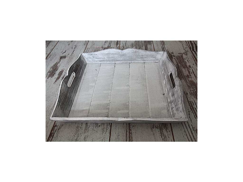 Podnos čtverec šedý s patinou