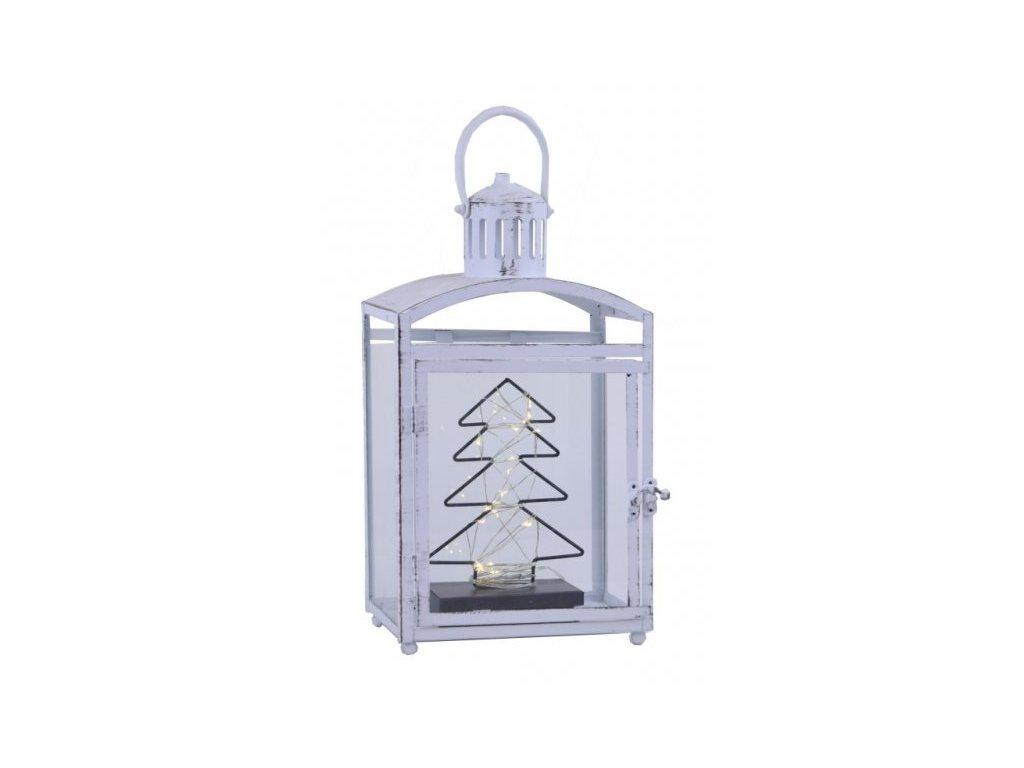 Bílá plechová lucerna s led stromkem