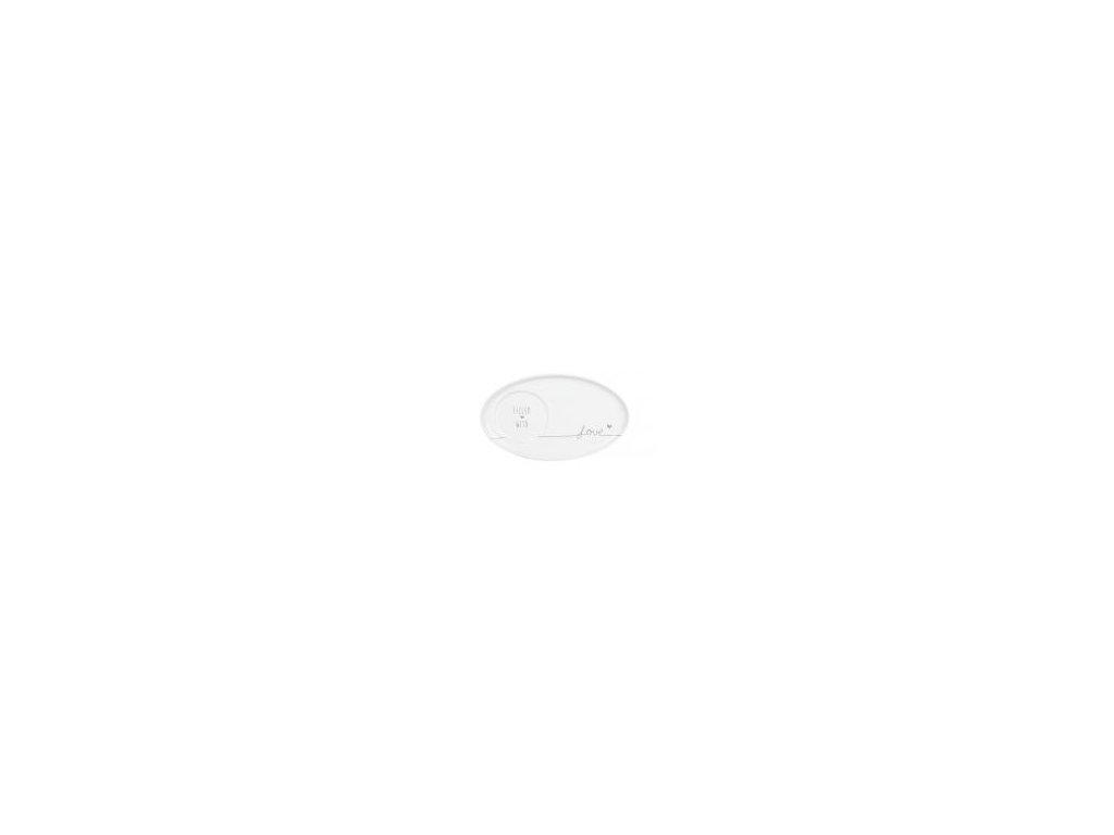Podšálek, Espresso, oválný, keramika, bílý s šedým nápisem Filled with Love, 17x