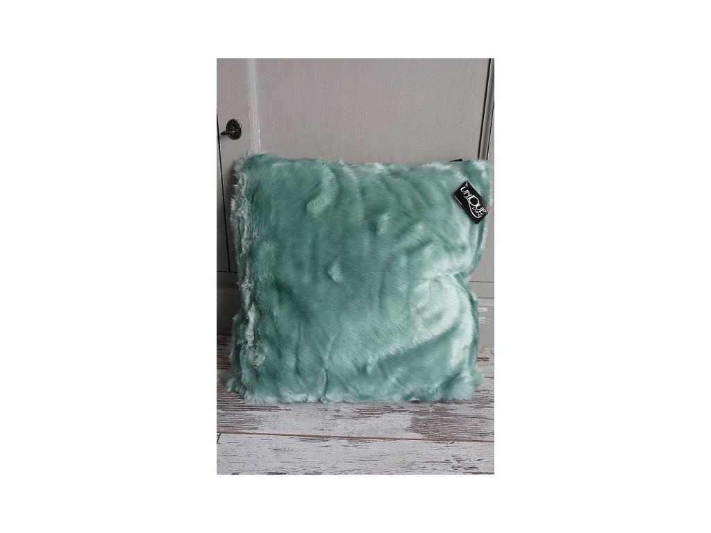 Polštář chlupatý mint 45x45cm
